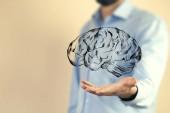 Üzletember kéz ikon agy közelről