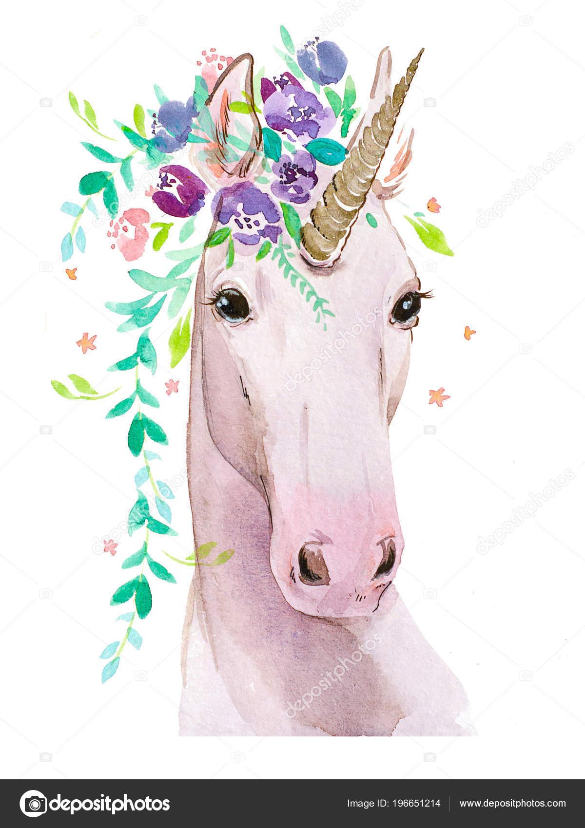 Unicorno Con Fiori Sfondo Bianco Foto Stock Pushistaja 196651214
