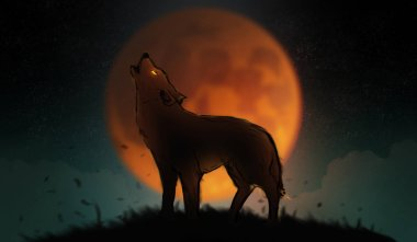 Digital illustration art painting a wolf howling in the wild, big fool moon and clouds is background. terrible, horror lonely, scary, creepy concept