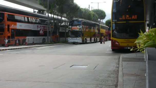HONG KONG, CHINA - SEPTEMBER 3 : Buses stop at parking for waiting send chinese people and foriegner traveler from Hongkong airport to central and causeway bay on September 3, 2018 in Hong Kong, China