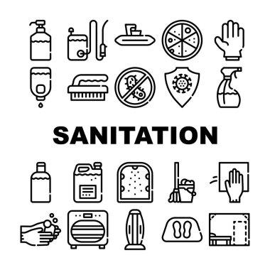 Sanitation Accessories Collection Icons Set Vector. Sanitation Equipment And Tool, Anti-virus Protection Brush Glove, Disinfection Spray Liquid Black Contour Illustrations icon