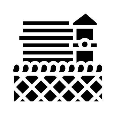 Prison building glyph icon vector. prison building sign. isolated contour symbol black illustration icon