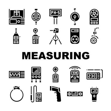 Measuring Equipment Collection Icons Set Vector. Measuring Temperature And Weight, Distance And Water Ph Gadget, Accelerometer And Planimeter Concept Linear Pictograms. Contour Illustrations icon