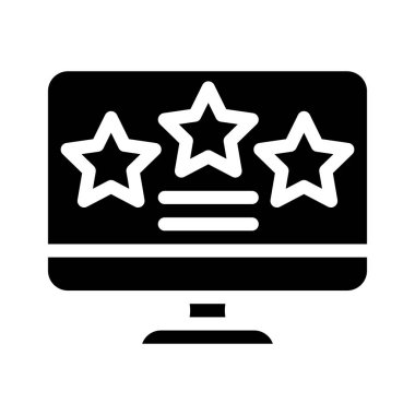 Review stars on computer screen glyph icon vector. review stars on computer screen sign. isolated contour symbol black illustration icon