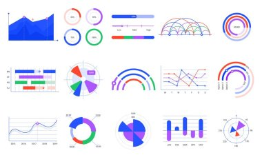 Graph charts. Colorful diagrams, statistics dashboard chart and infographic elements vector set. Stock market analytics, financial audit infochart isolated on white background. Sales rate monitoring
