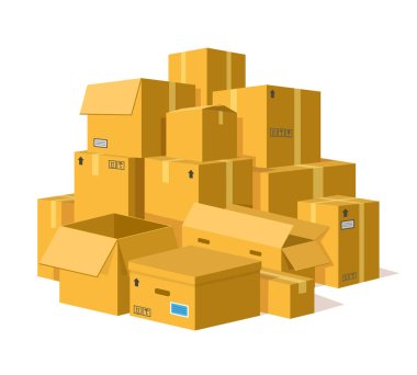 Cardboard boxes pile. Storage delivery cardboard boxes stack, pile of postal parcel package, carton sealed boxes vector illustration. Open and closed parcel with adhesive tape for shipping, relocation icon