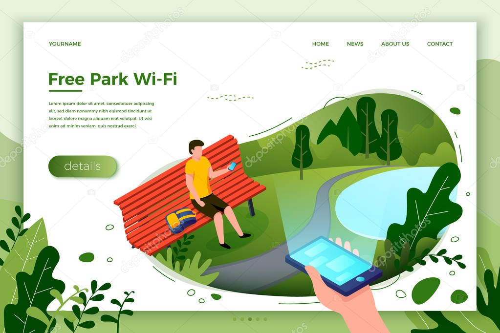 Vector park banner, man on a bench with phone