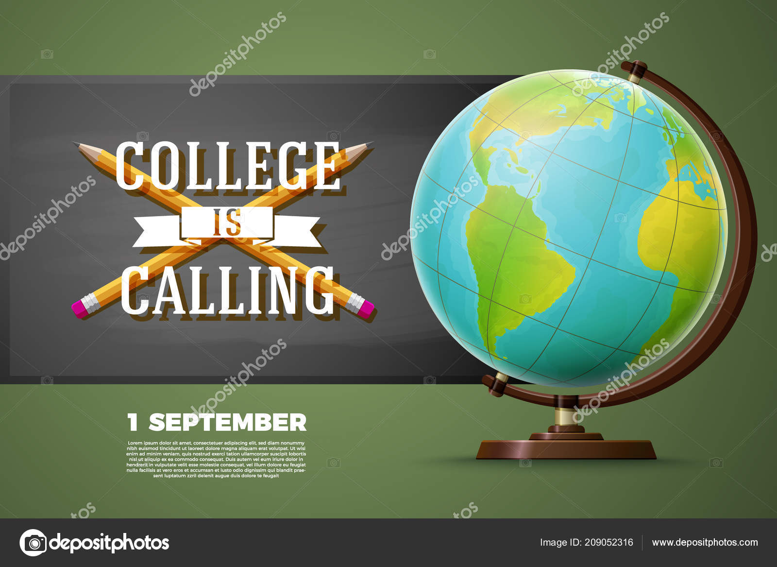 Back to college banner template, globe, chalkboard — Stock Vector ...