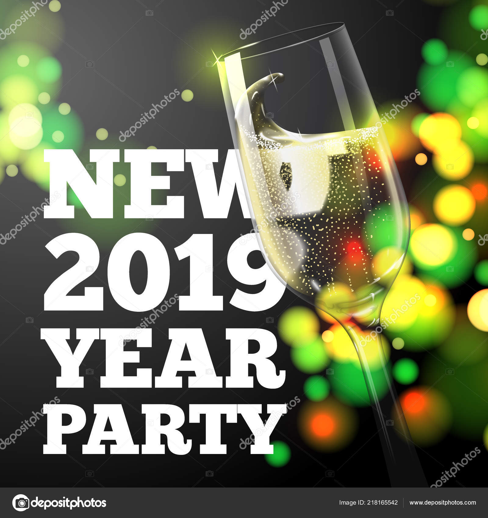 new year banner with transparent champagne glass stock vector