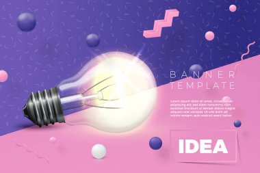 Vector light bulb idea banner on abstract scene