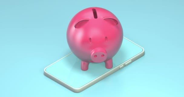 Aranyos malac bank forgó okostelefon, hurok zökkenőmentes animáció 4k videó.