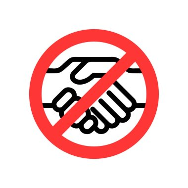 No handshake vector icon. Flat No handshake pictogram on white background icon