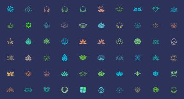 Set of plant and flower logo design templates. suitable for beauty and health business brand icon