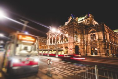 Night view of Vienna State Opera building facade exterior, Austri