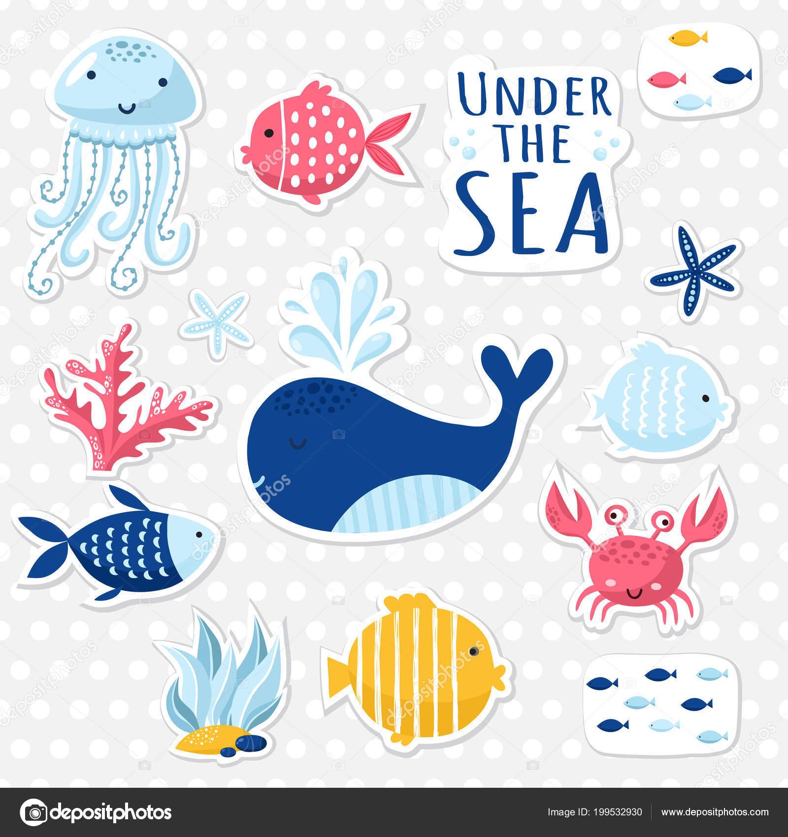 big set cute sea elements cards stickers marine theme design stock