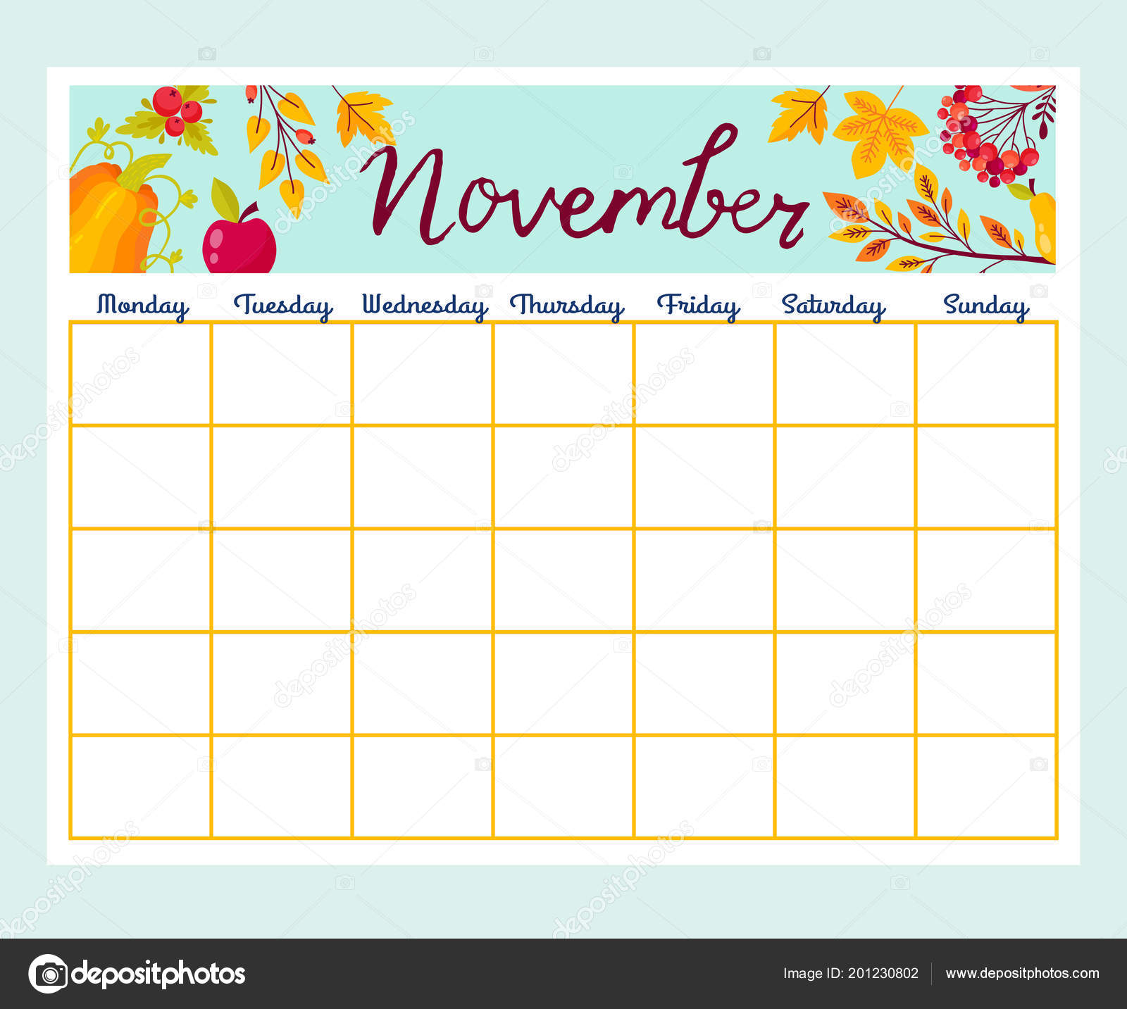 cute monthly planner flowers list notes printable autumn design