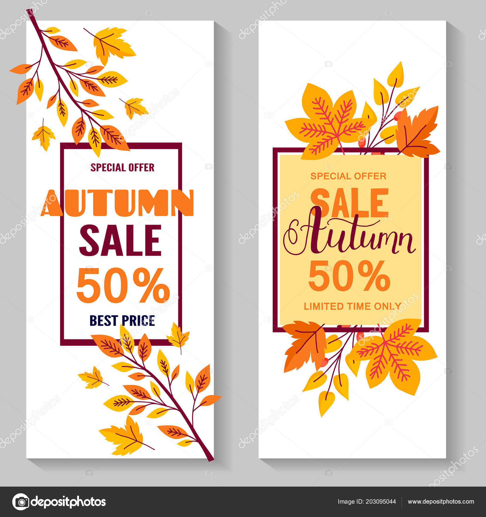 set of autumn sale flyer template with lettering orange leaves