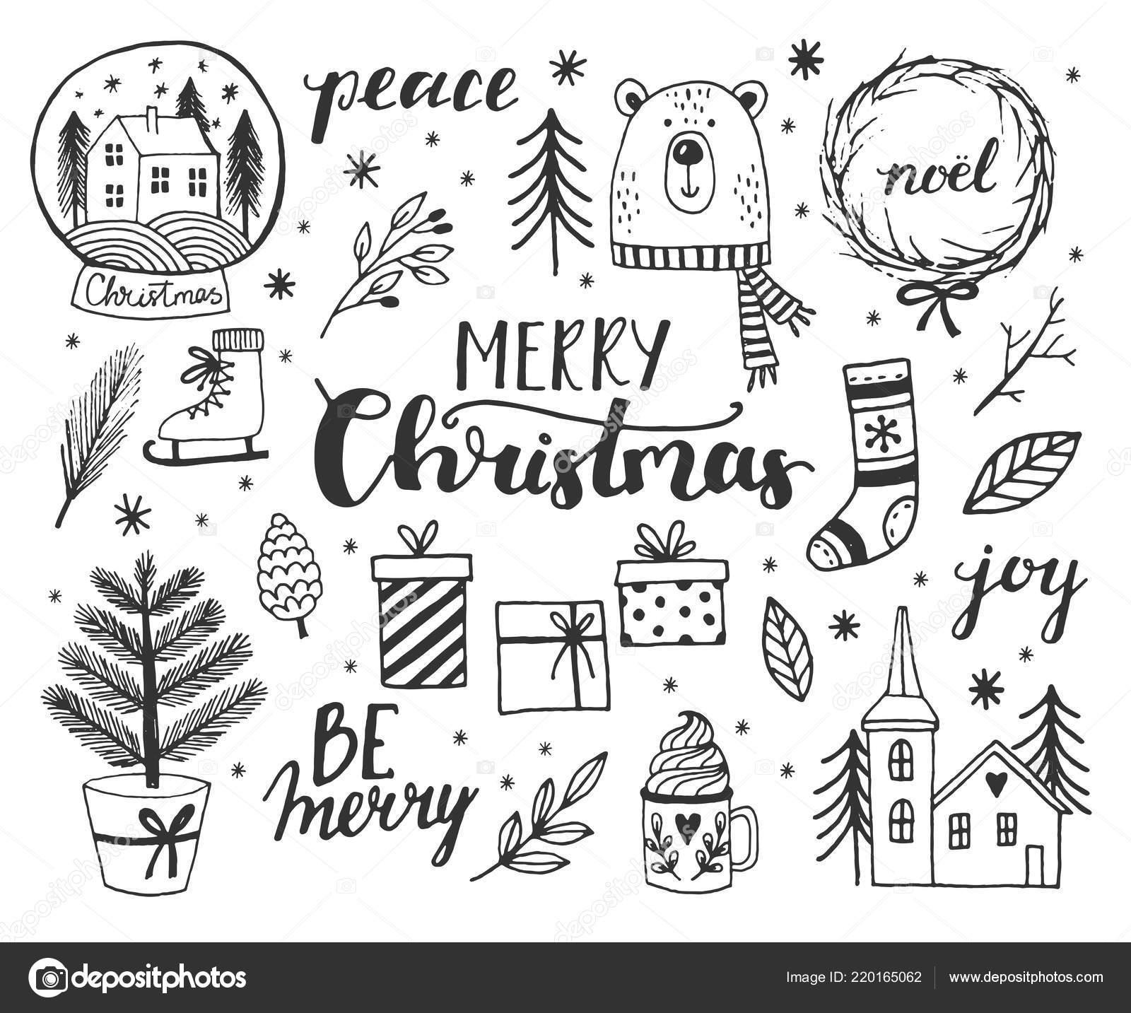 Christmas Present Drawings.Drawings Christmas Art Hand Drawn Doodle Vector