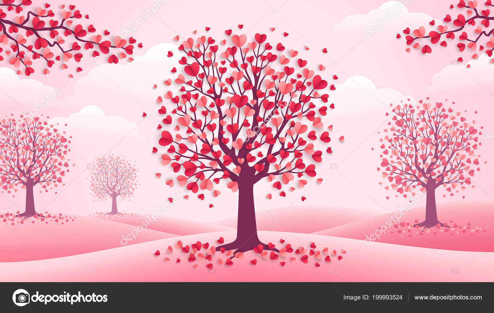 Happy Valentine Day Trees Heart Shape Leaves Pink Landscape Clouds