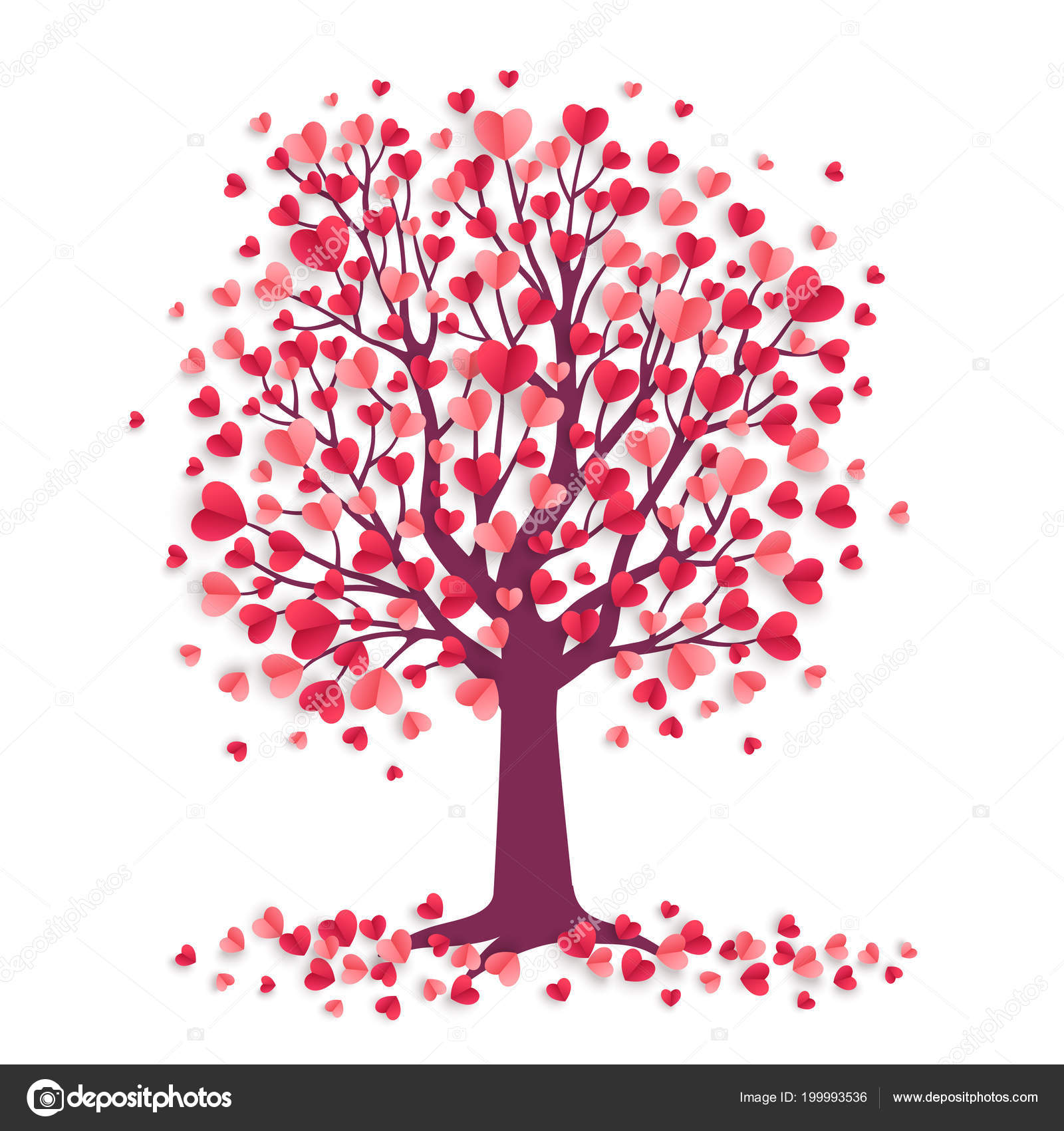Happy Valentine Day Tree Heart Shaped Leaves Isolated White Vector