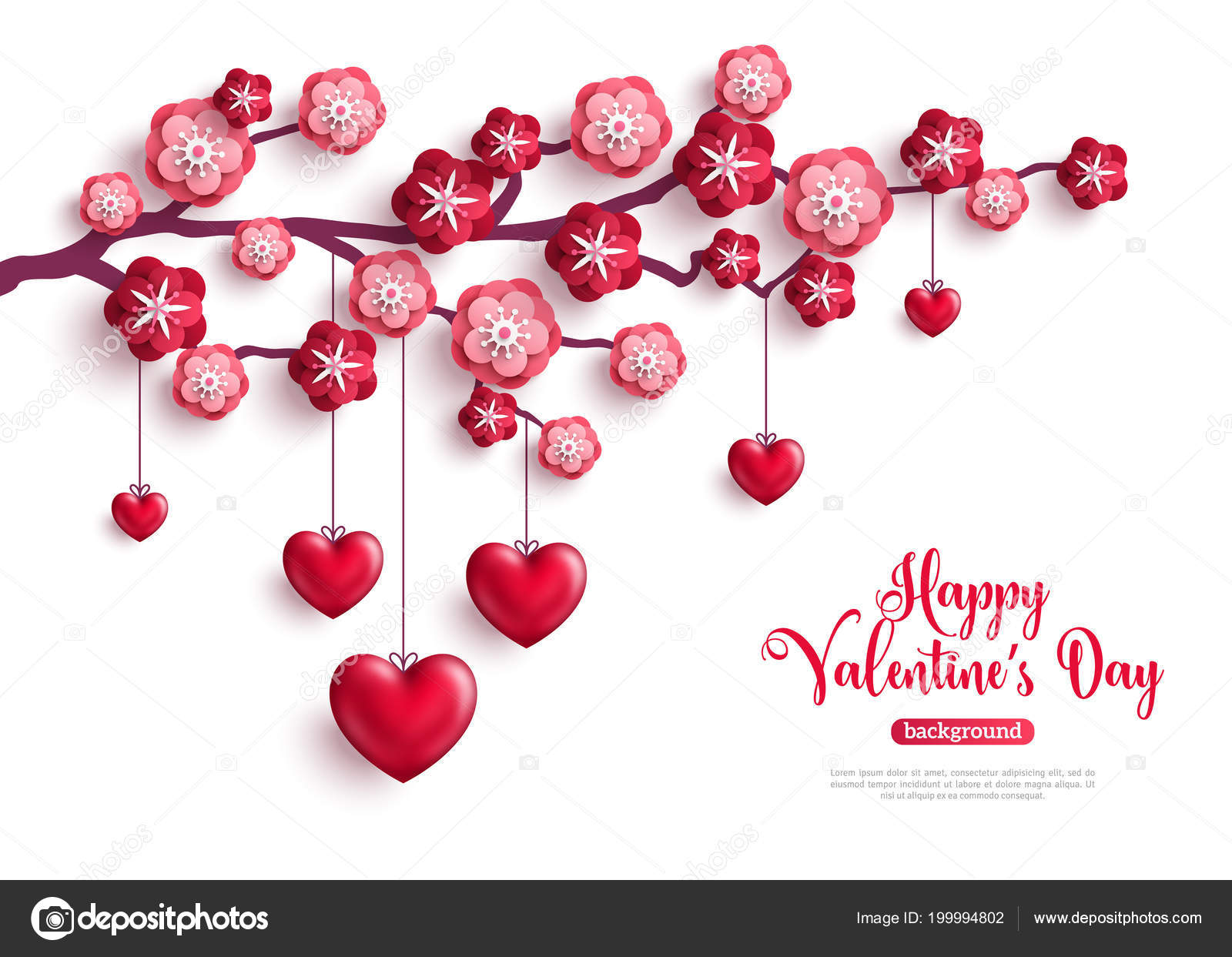 Happy Saint Valentines Day Concept Valentine Trees Paper Flowers