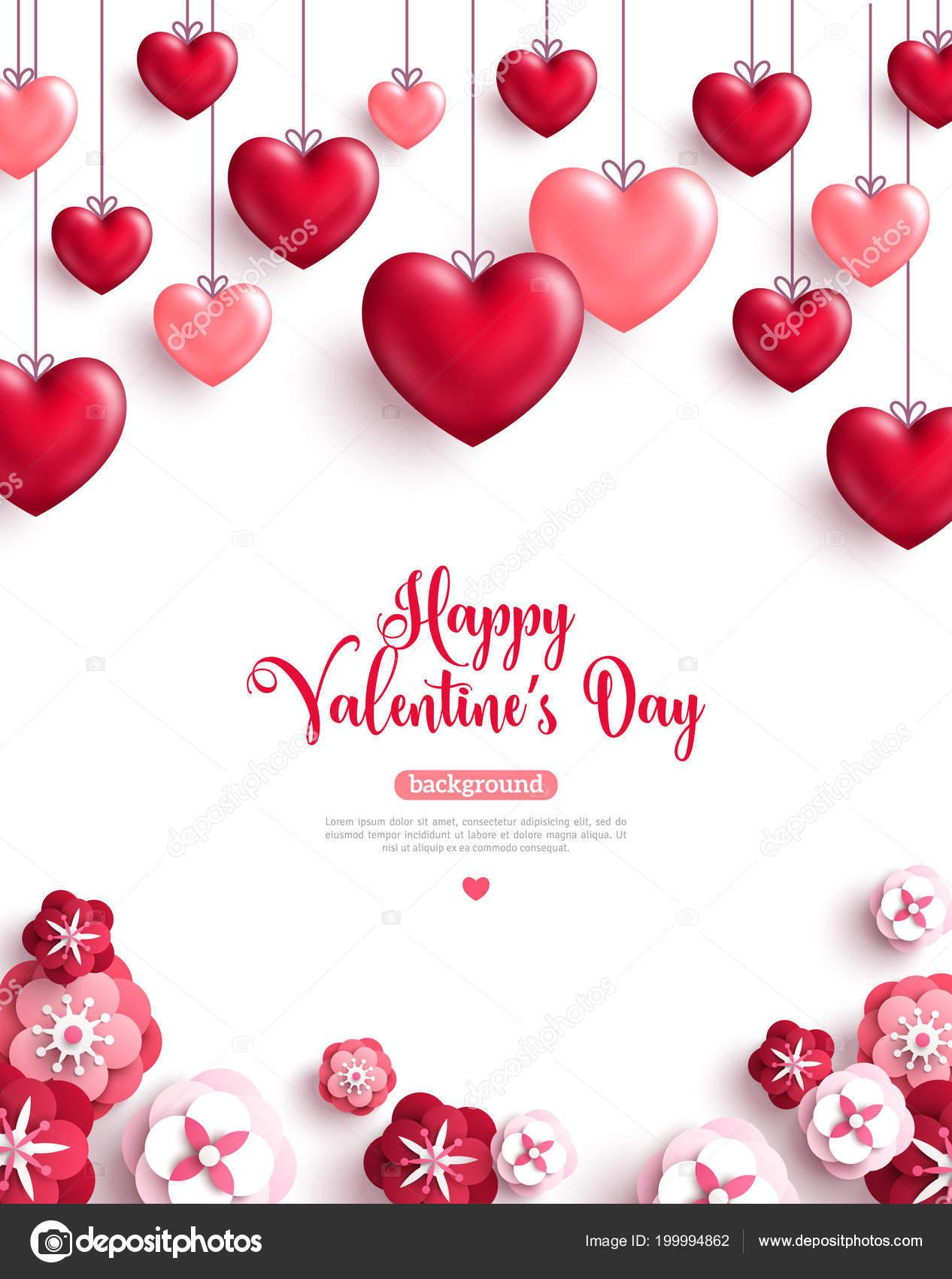 Fondo San Valentin Con Corazones Decoracion Papel Corta Rosas Feliz - Corazones-de-decoracion