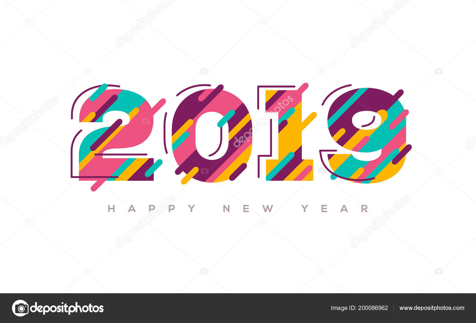 2019 happy new year greeting card abstract colorful numbers brochure stock vector