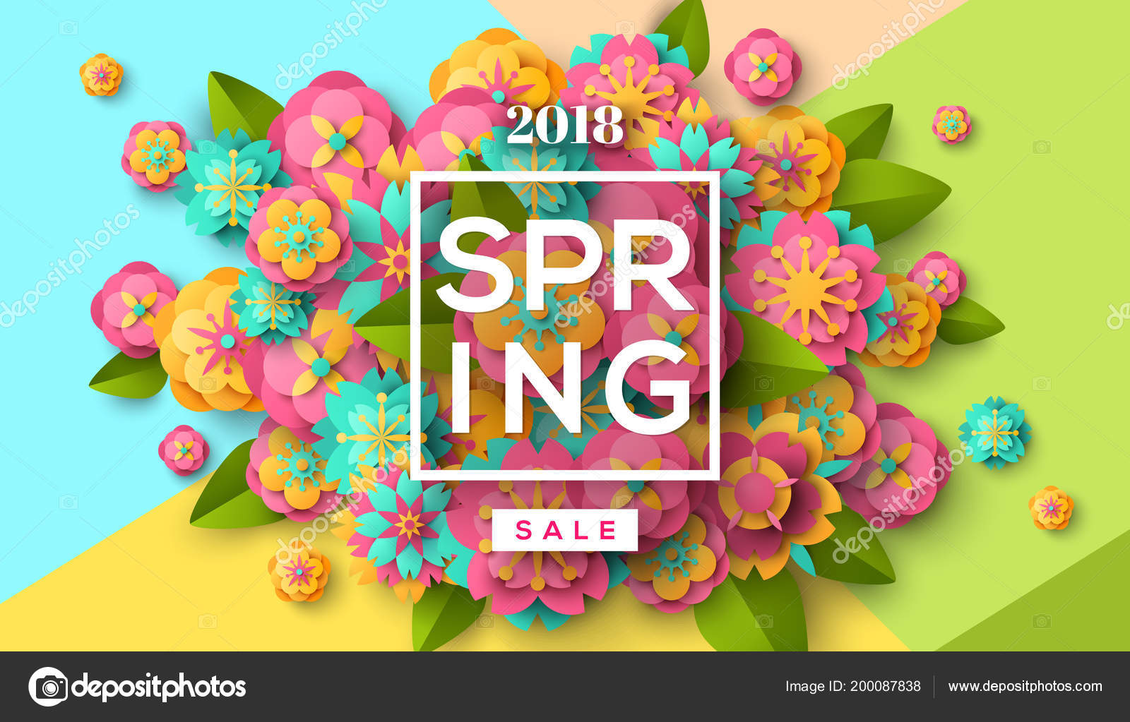 spring sale flyer template paper cut flowers leaves frame bright