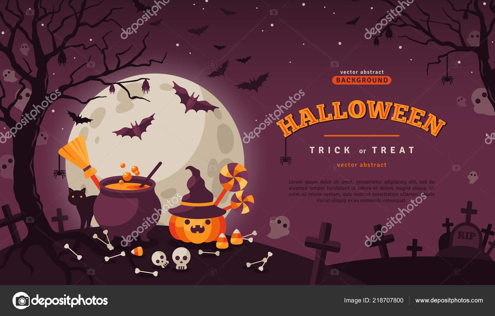Bannière Halloween Avec Spooky Forest Image Vectorielle
