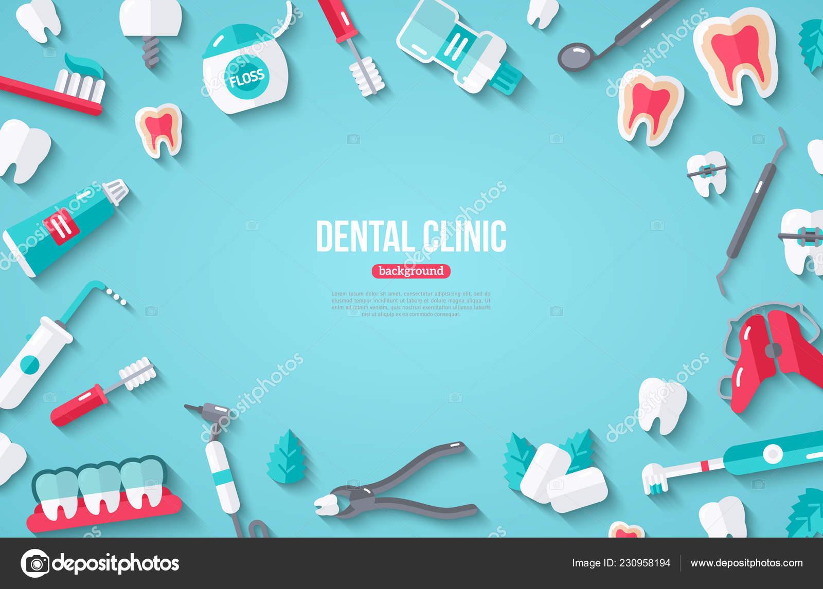 db1e2a137 Banner Odontologia Com Ícones Planas Sobre Fundo Azul Ilustração Vetor — Vetores  de Stock