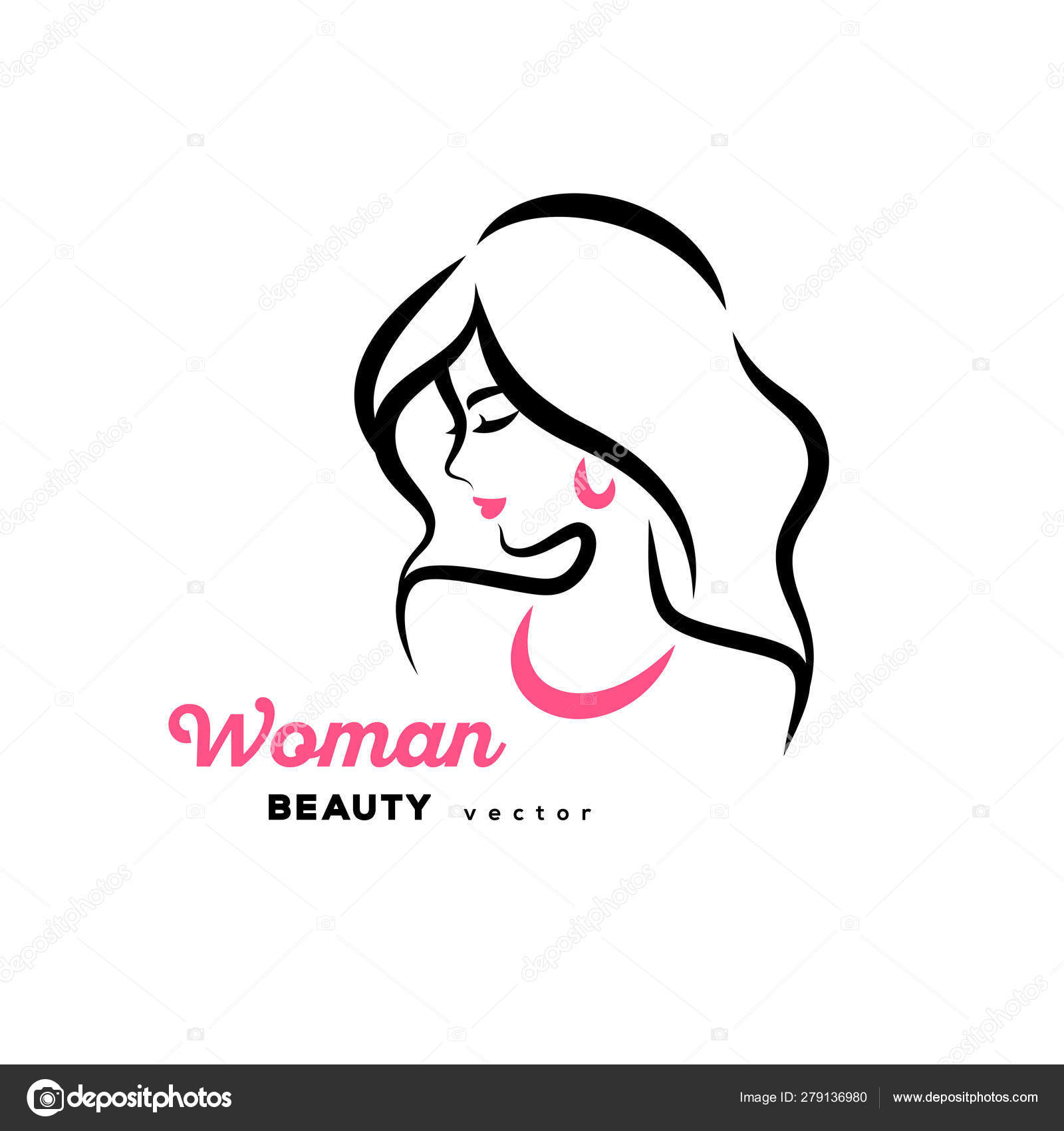 Woman Face Logo Design Stock Vector C Kotoffei 279136980