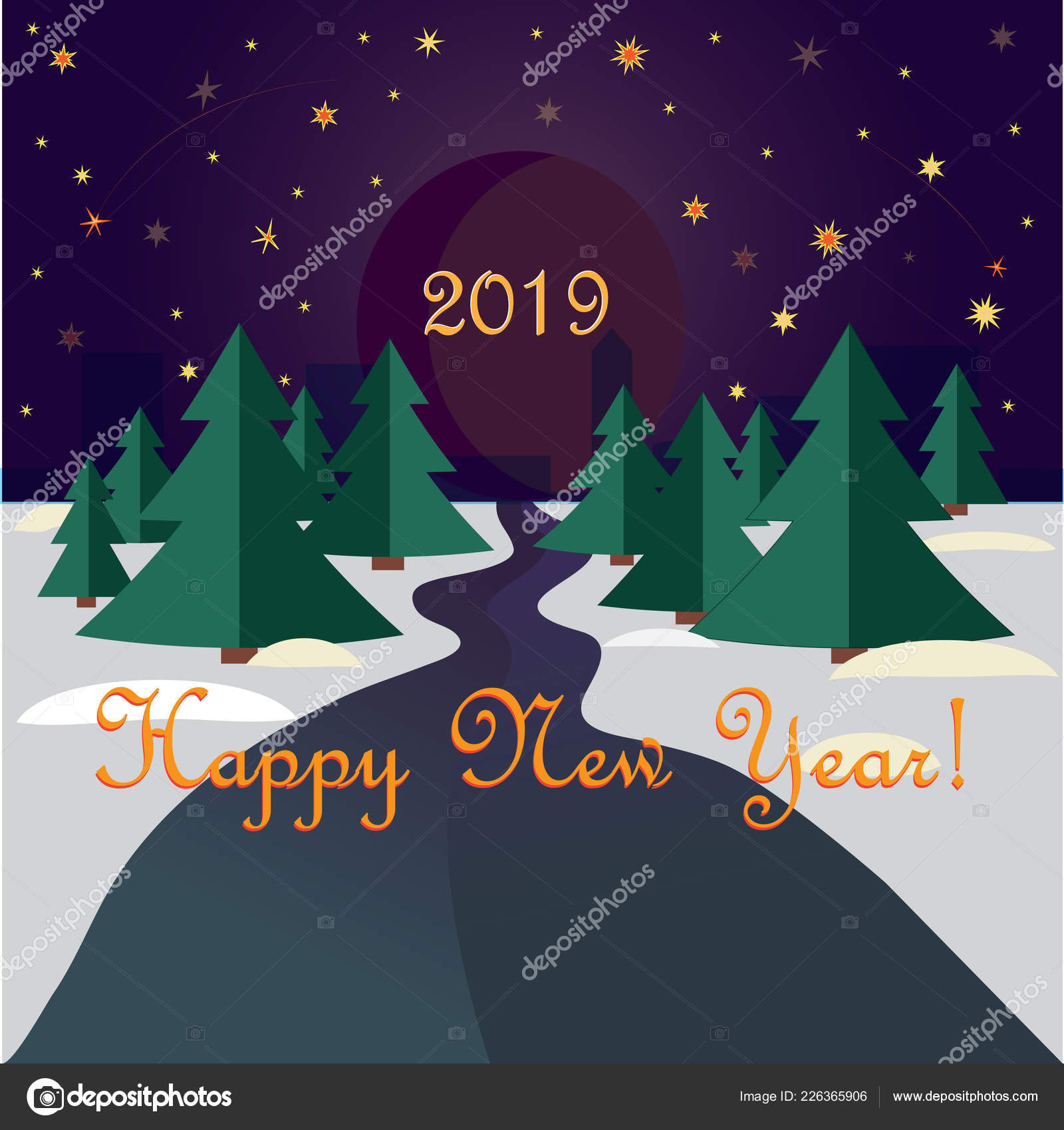 forest road firs leading new year city background night sky stock vector