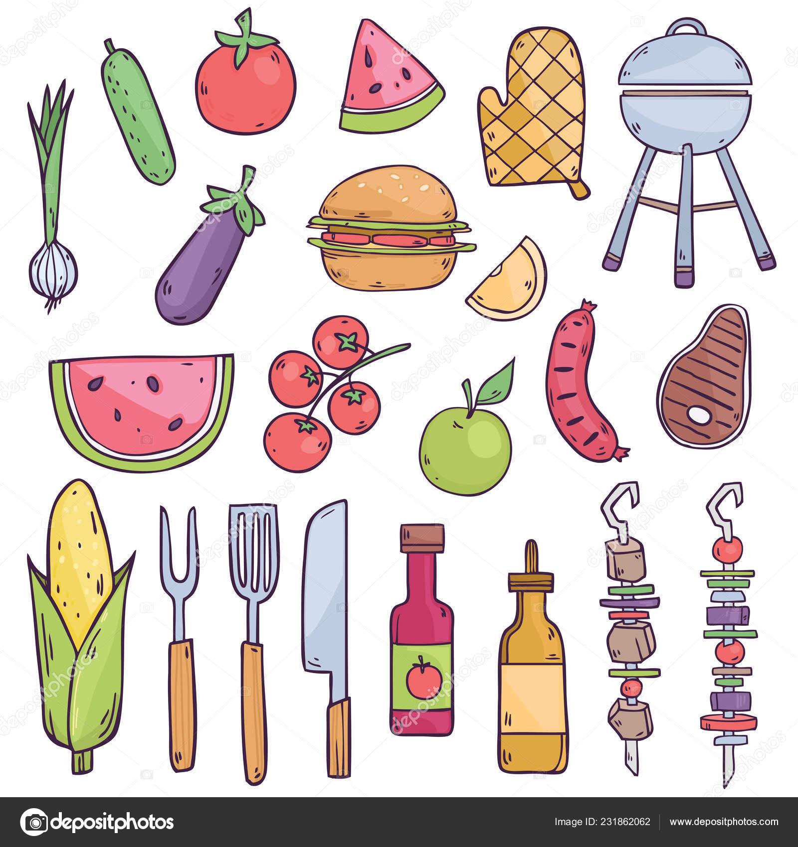 Mod le vectorielle continue avec dessin anim aliments ingr dients sauces image vectorielle - Dessin gouter ...