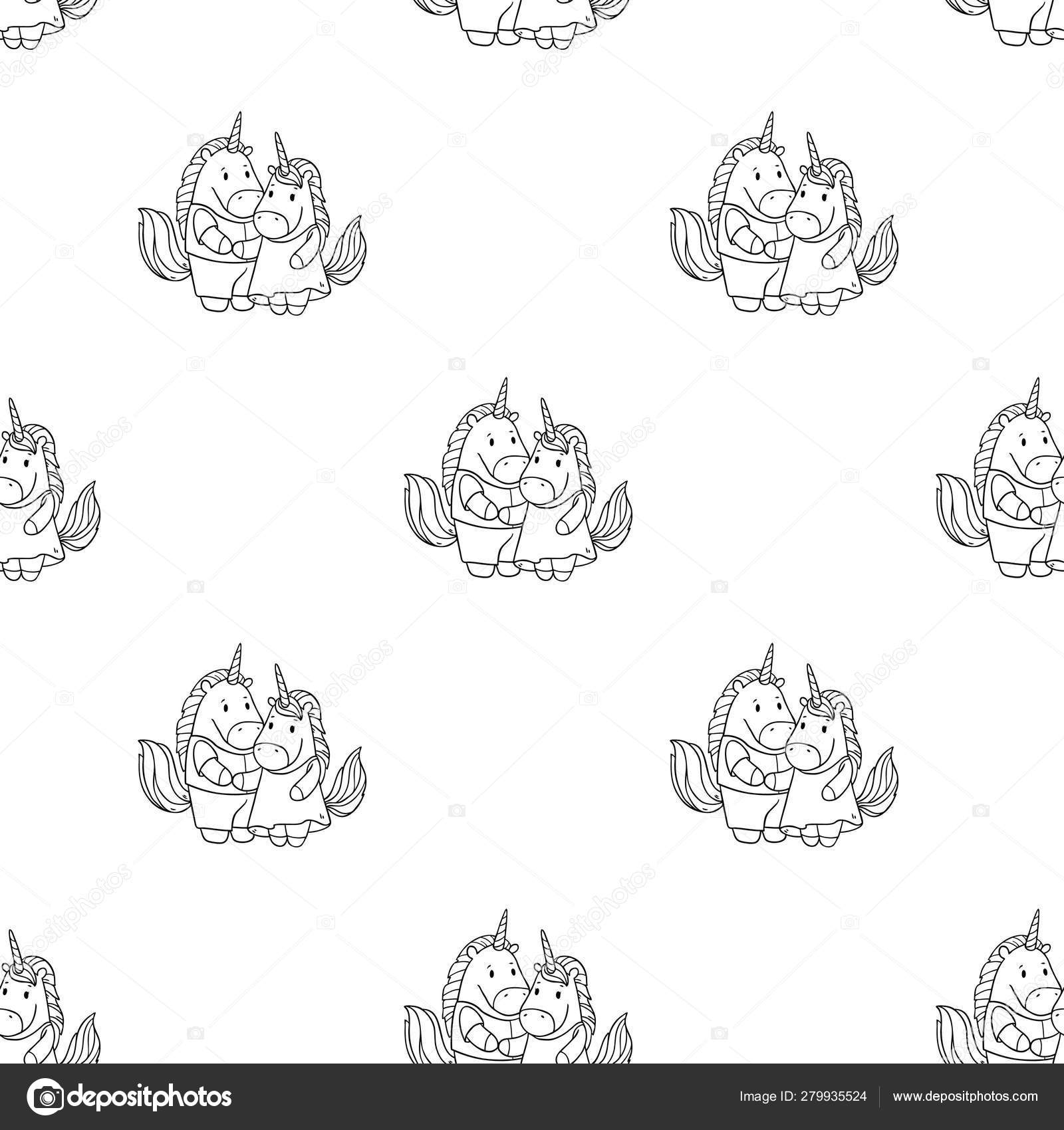 Unicorn Couple Seamless Pattern Copy Space Stock Vector C Lunter 279935524