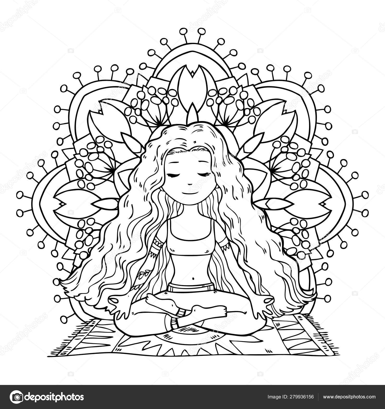 Yoga Girl Pattern Coloring Book — Stock Vector © Lunter ...