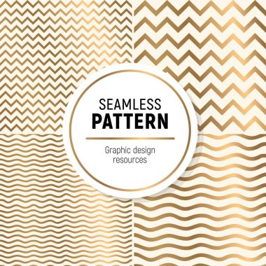 Luxurious seamless pattern colelction. Simple, but flashy background. Include zig zag and wave textures.