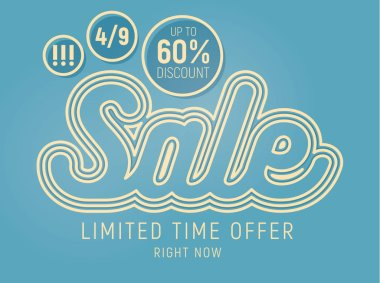 Typographic sale banner. Vectro graphic design elements.