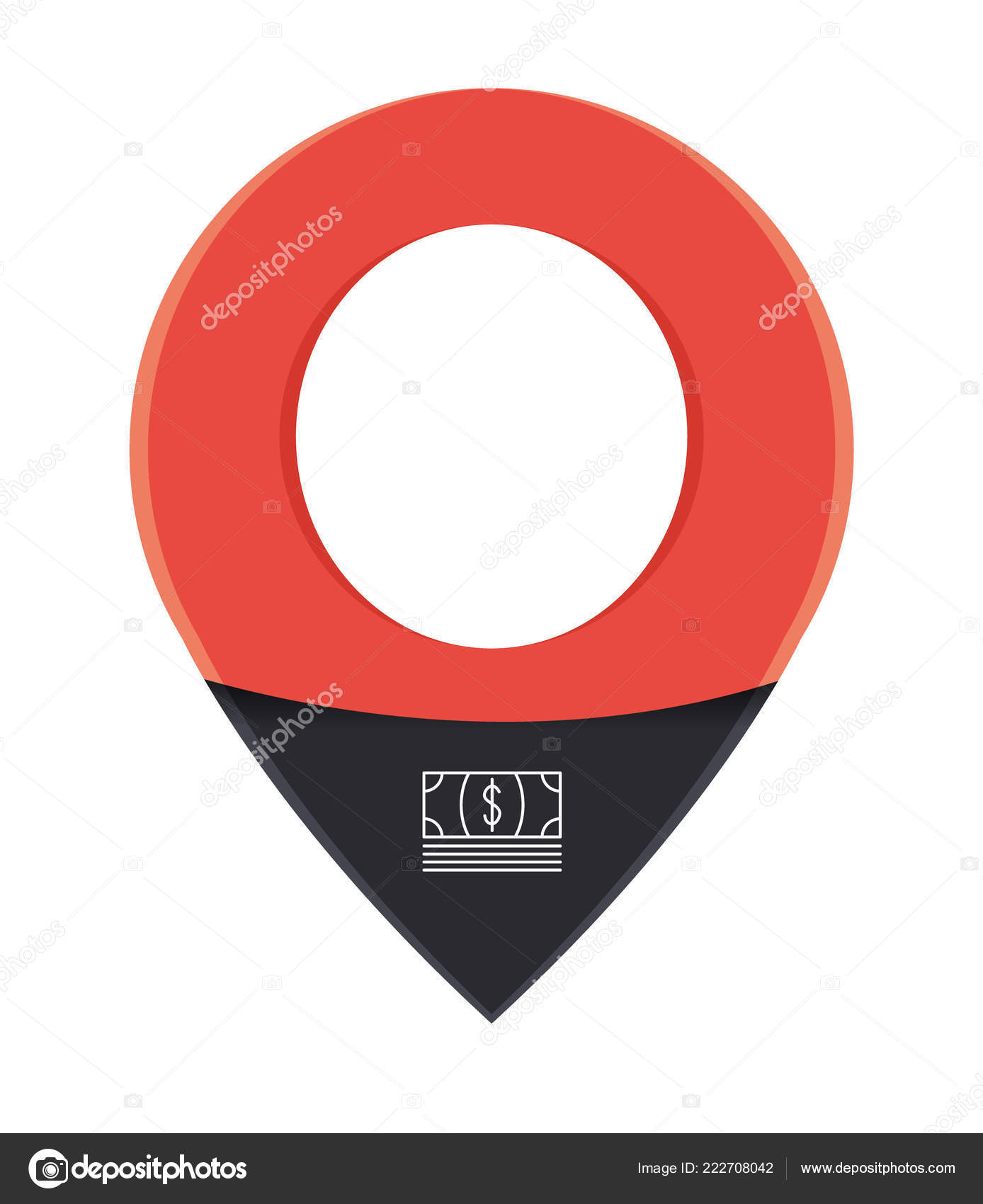 Red Map Pin Icon Space Your Icon Text Current Position Stock