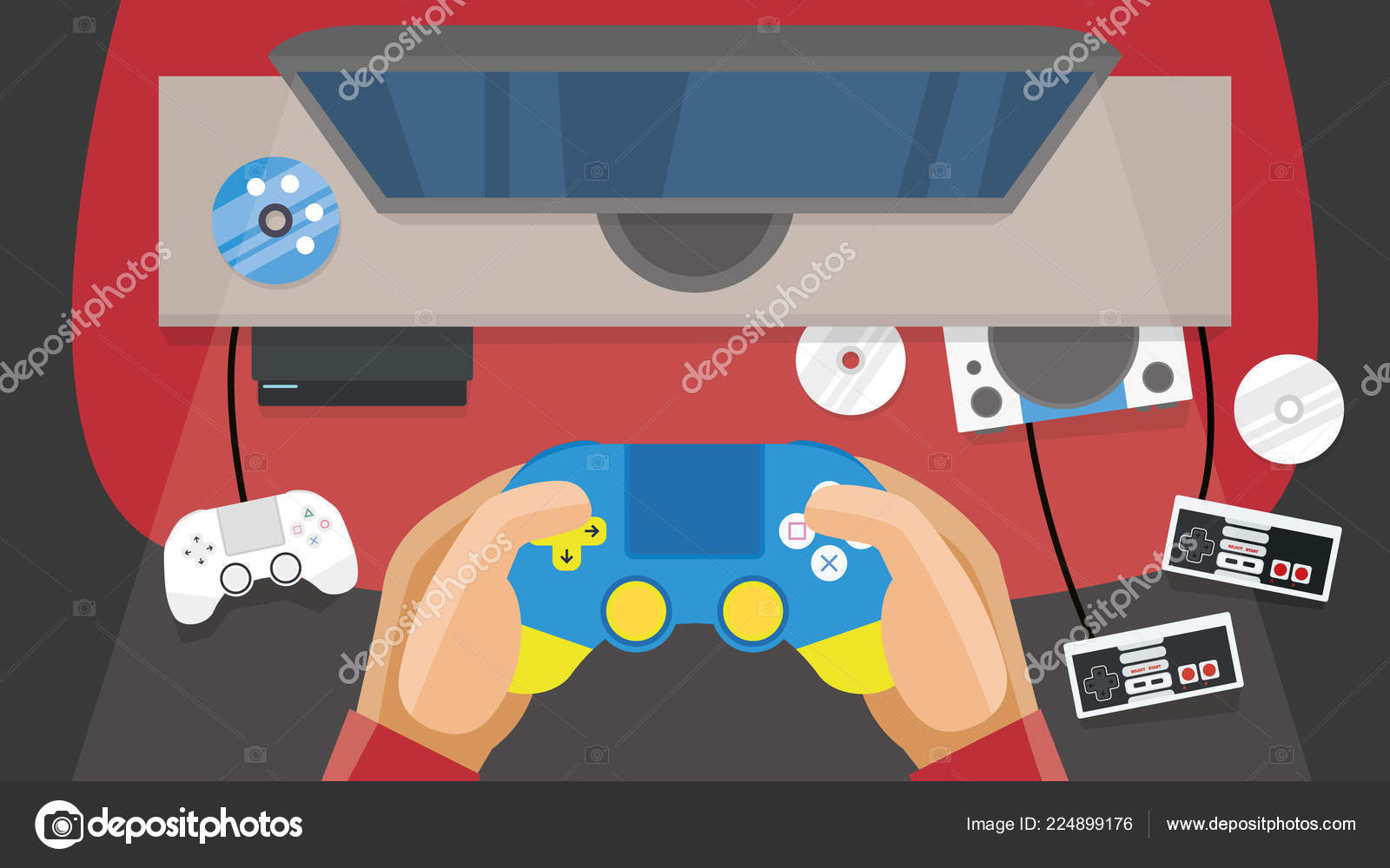 Gaming Room First Preson Point View Man Playing Game