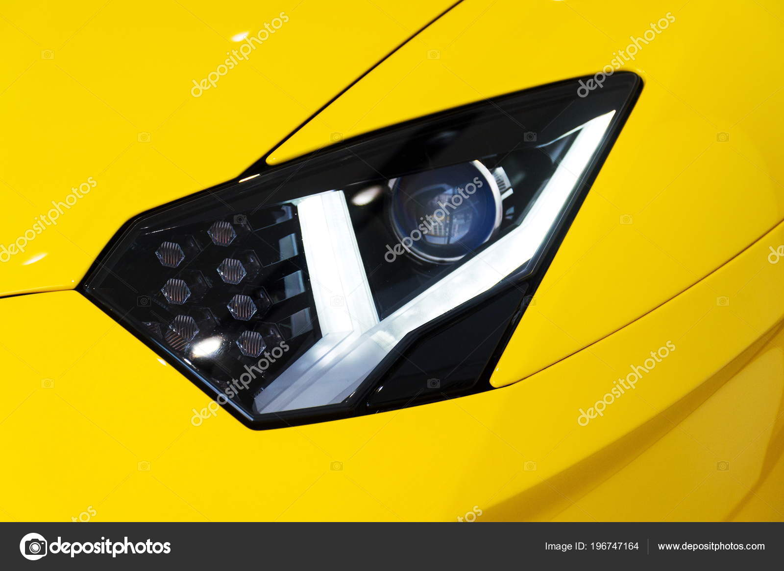 Headlight Detail Sports Car Lamborghini Aventador Coupe Stock