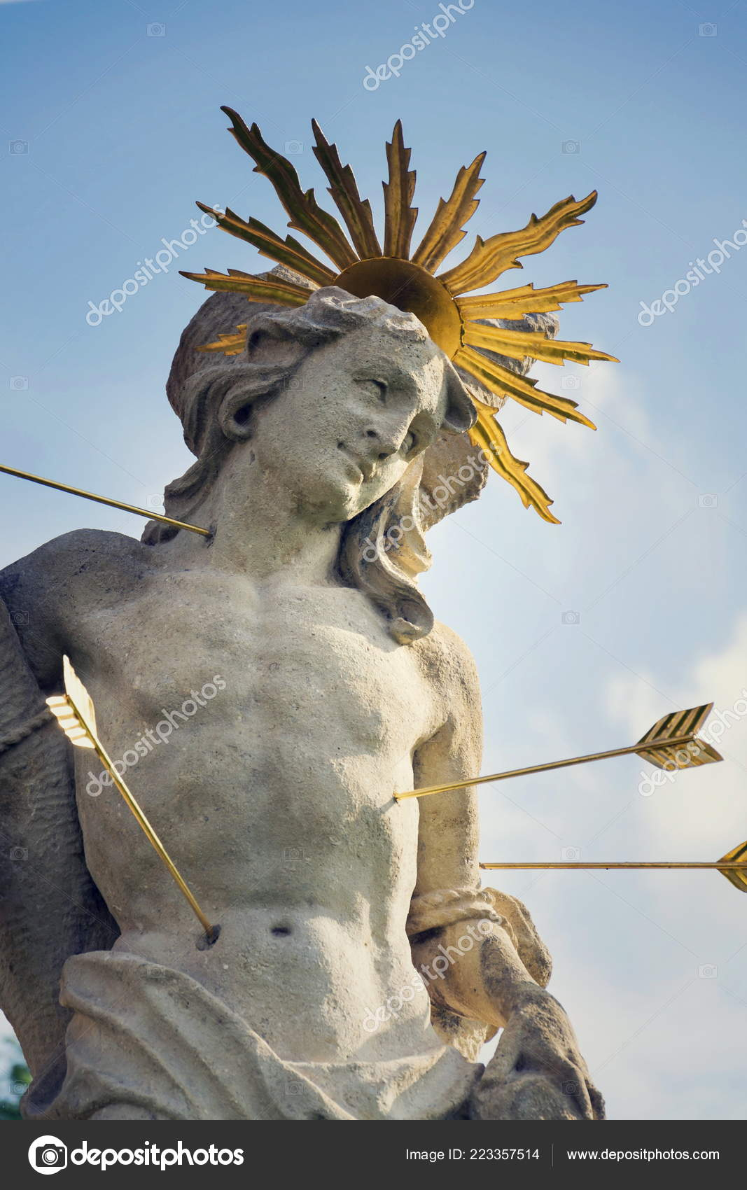 Sao Sebastiao Tiro Com Setas Martir Estatua Coluna Marian Praga