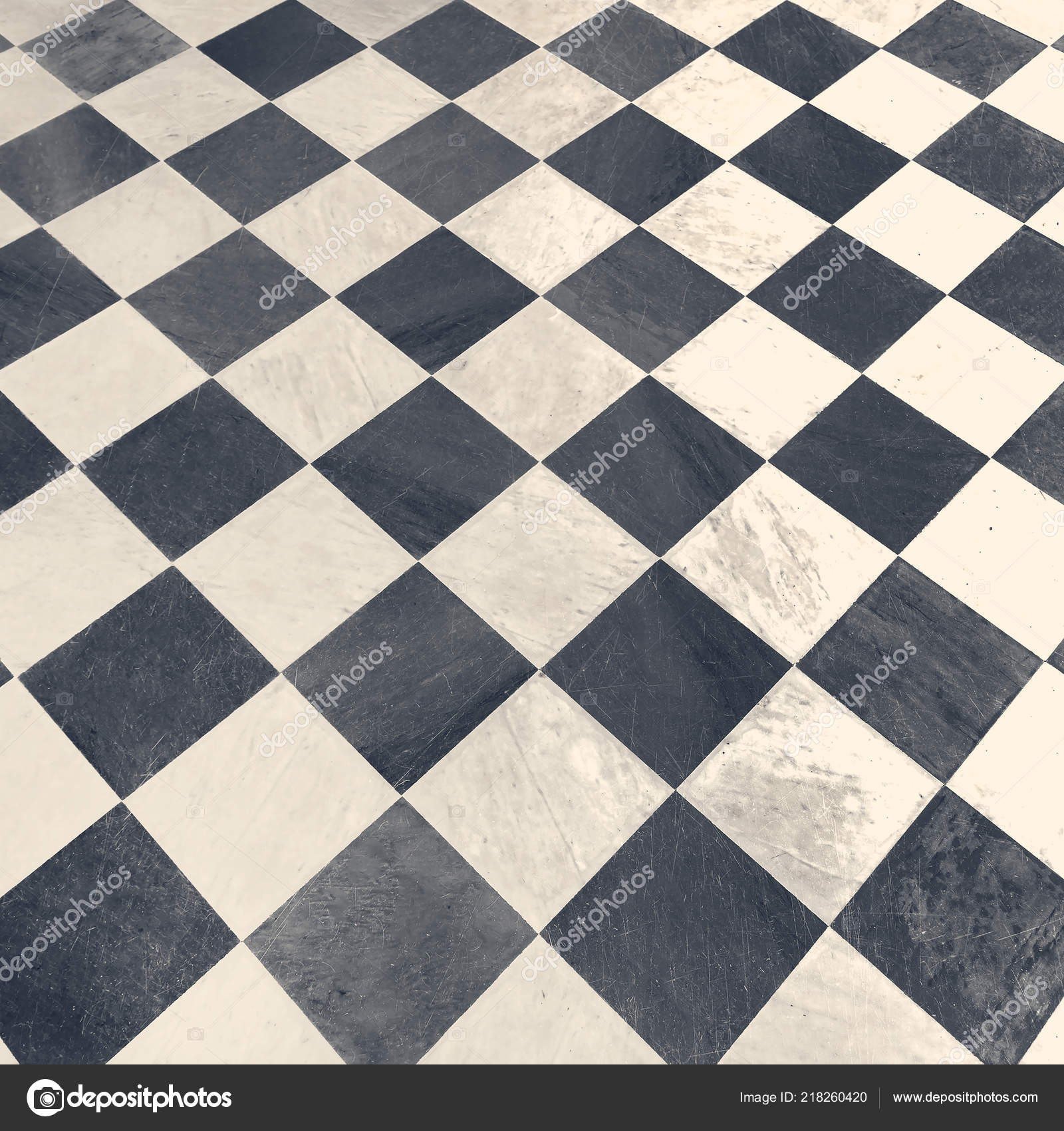 Black White Checkered Floor Tiles Background Stock Photo