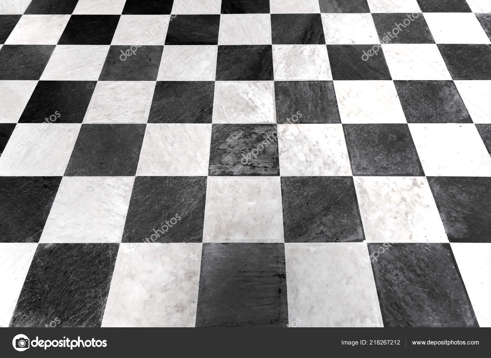 Black White Checkered Floor Tiles Marble Background Stock