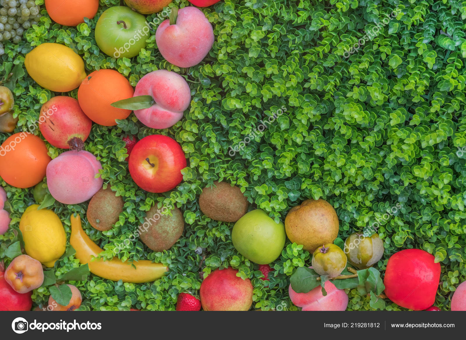 Mix Colorful Fruit Green Grass Background Stock Photo