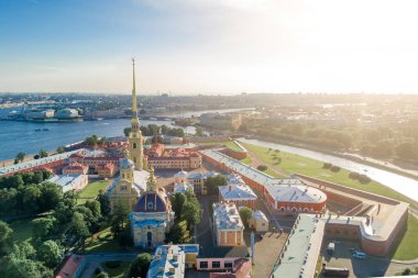 View from the drone of the Peter and Paul Fortress, St. Petersburg in the sunshine