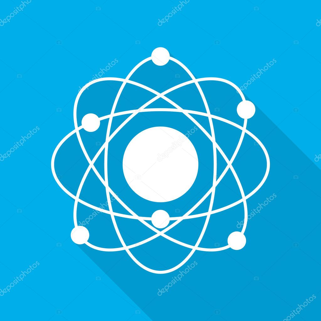 Atom icon in flat design. White molecule symbol or atom symbol with long shadow on blue background. Vector illustration.