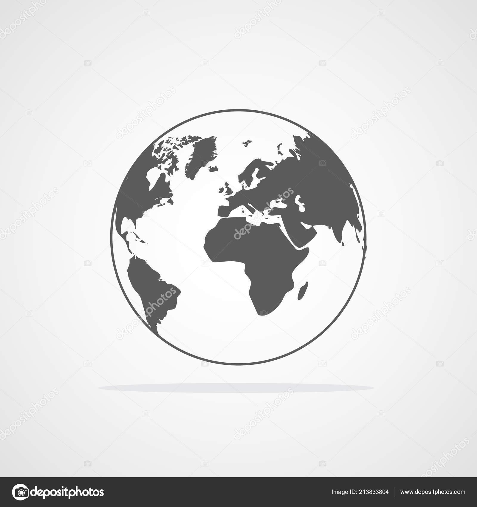 Gray World Map Icon Flat Style Vector Illustration Earth