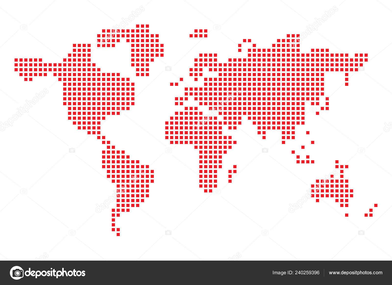 Pixel Art Création Carte Monde Illustration Vectorielle