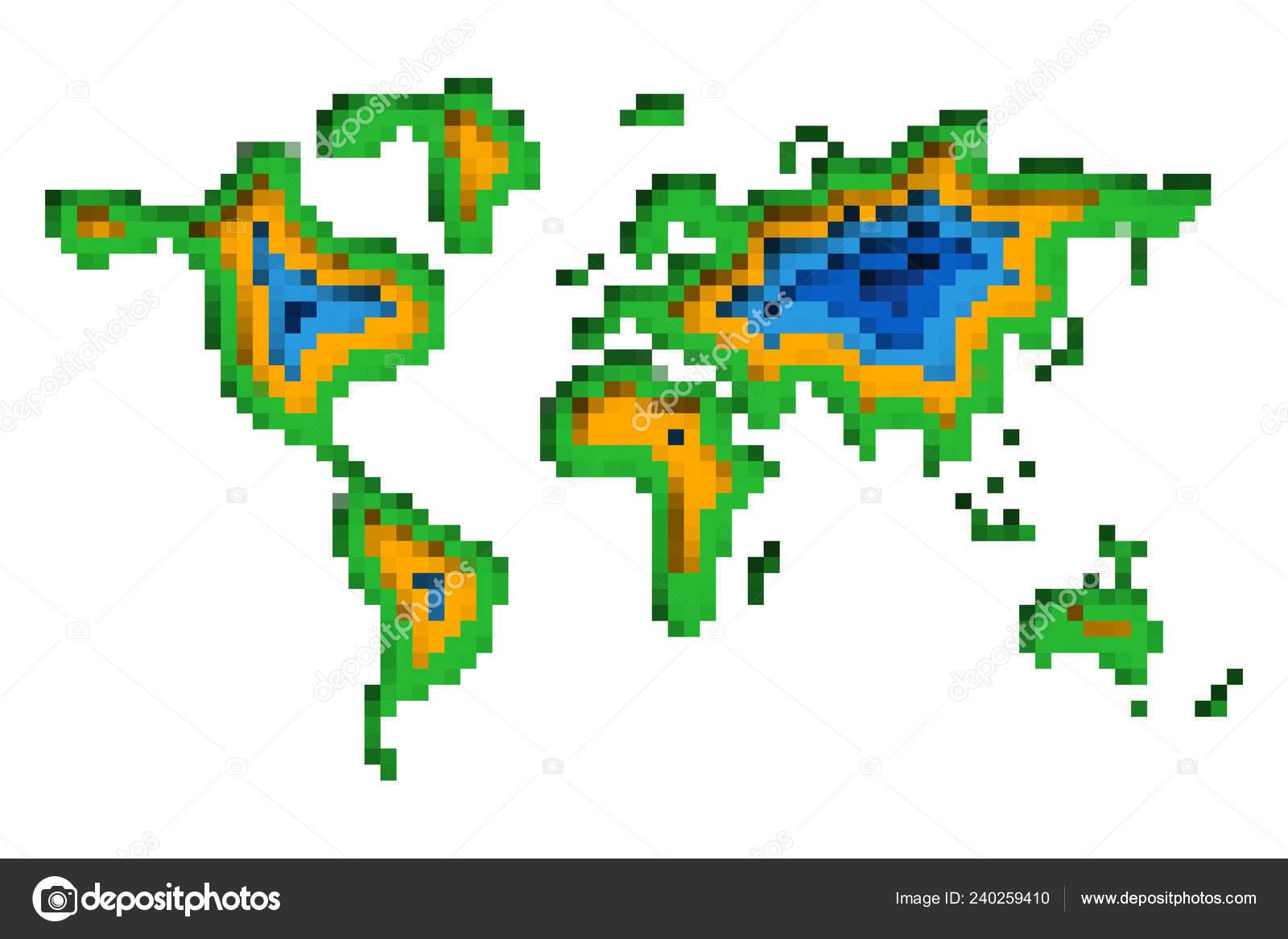 Vector Pixel Art World Map Pixel Art Design World Map