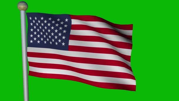 Animierte amerikanische Flagge weht auf grünem Bildschirm